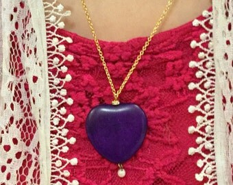 Lovely Purple Heart Necklace with Pearl and Swarovski Crystals
