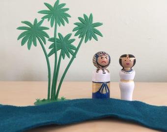 Pesach/Passover Peg Dolls- Pharaoh and Batya