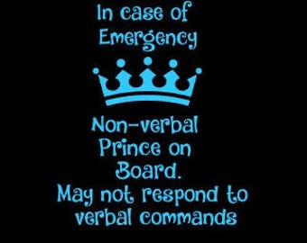 Non Verbal Prince On Boaed Decal