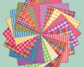 6 inch -- 40+ Bright Homespun Quilt Squares