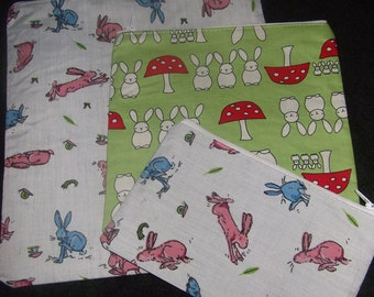 Bunny theme make up cosmetic toiletry zip bags/purses