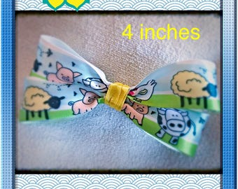 Spring hairbow, summer hairbow, Farm animals, 4 inch boutique hair bow for infants, toddlers, girls