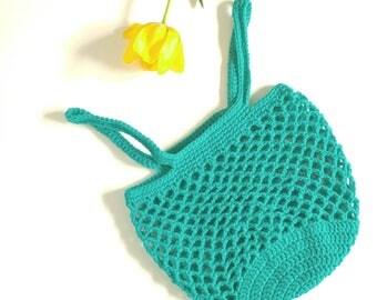 Market Tote Bag, crochet bag, farmers market bag, reusable bag, shopping tote, teal, turquoise, book bag, gift for her, sacs réutilisables