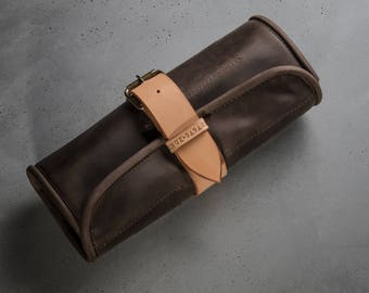 Leather Tool Roll Handcrafted car accessories by Kruk Garage Brown Men's gift Custom tool wrap Car tools storage Mechanic case Artisan roll