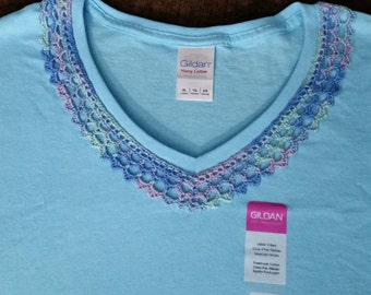 Blue Crochet on V-neck T-shirt