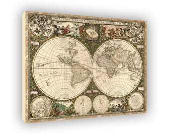 Nova Totius Terrarum Orbis Tabula, Old World Map 1600s, Framed Canvas Wall Art, Antique Ancient Maps, Early Known Earth, Two Hemispheres