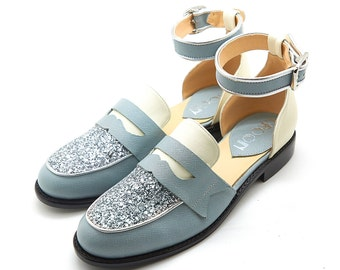 Handmade blue loafer - Silver glitter ankle strap loafer - Flat womens vintage style shoes.