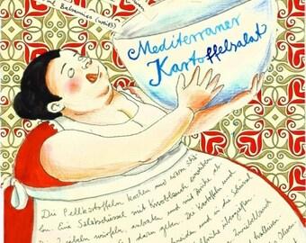 Mediterranean potato salad - illustrated recipe postcard