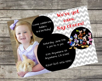 Personalized Mickey Mouse Clubhouse Birthday Invitation- Digital File Only DIY 5x7