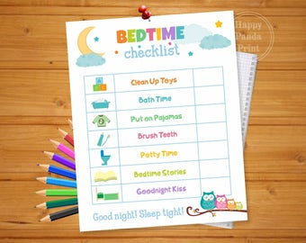 BEDTIME CHECKLIST Printable Bedtime Routine Checklist Bedtime Routine Chart To Do List Organization Printable Bedtime Chart Kids Charts