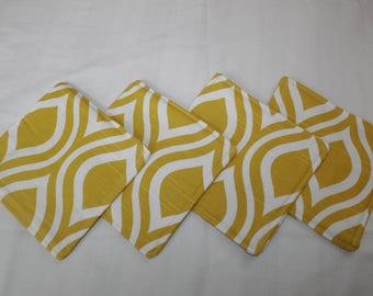 Fabric coasters, set of 4 fabric coasters, mug rug.