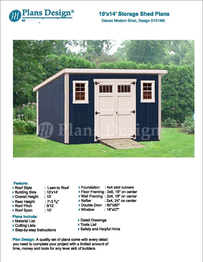 10 x 14 Garden Storage Modern Roof Style Shed Plans