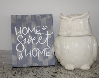 Home Sweet Home grey wooden sign