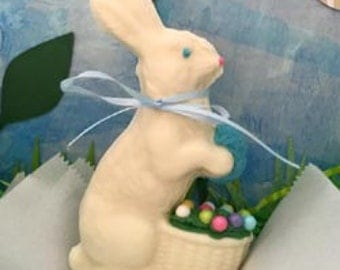 Bunny with Jelly Bean Basket - Solid Chocolate
