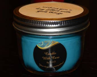 Scented Candle, Scented soy container candle - Blue Mystic Ocean Scent
