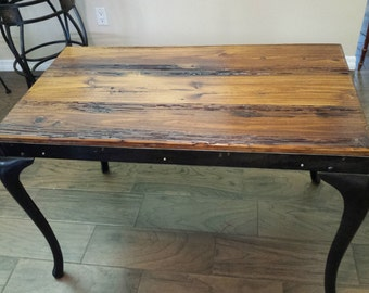 Table - Console Vintage Barn Wood with Cast Iron Legs (Price Reduced)
