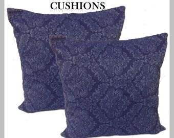 """Large royal blue cushions Set of 2   quality jacquard damask  20"""" 22"""" 24"""""""