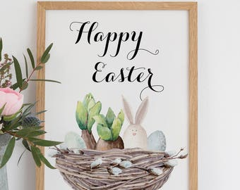DIY Happy Easter Greeting Card, Easter Bunny Card, 5x7 Card