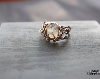 Ring | Moss agate | Nickel silver