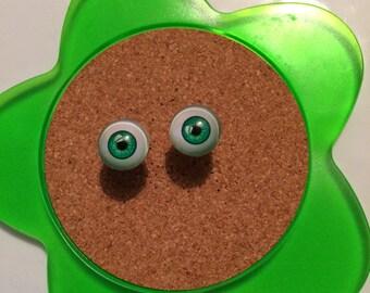 Handmade green glass eye stud earrings