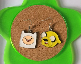 Handmade jake and finn adventure time dangle earrings