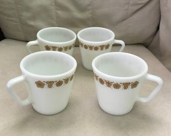 Set of Four 1970s Vintage Pyrex Coffee Mugs