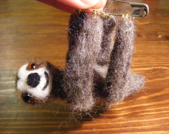 Hanging Sloth Brooch
