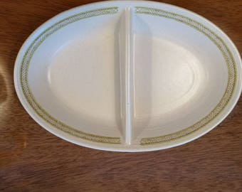 Hacienda Green by Franciscan Oval Divided Vegetable Bowl 11""