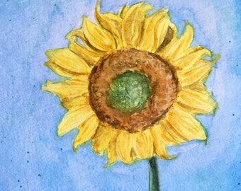 Watercolor Sunflower Original Painting 5.5 x 8.5