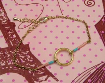Circle metal with beads Miyuki salmon/turquoise bracelet