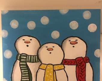 Holiday Snowmen Canvas Painting