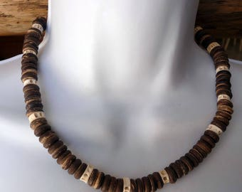 Necklace style surfer/surfing/men beads bone and coconut wood