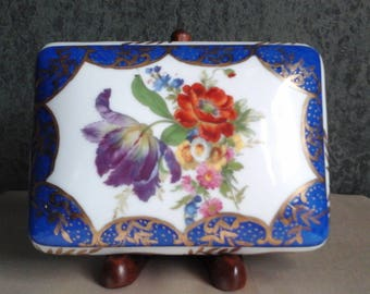 Elios Hand-painted Porcelain Trinket Box with Flowers