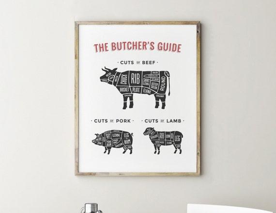 Butcher Chart Butcher Print Butchers Guide Kitchen Decor