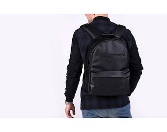 Man Leather Backpack,Men's Backpack,Vegan Backpack,College Backpack,Backpacks for Men,Gift for Him,Laptop Backpack 15 inch,Black rucksack