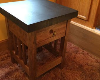 Arts & Crafts Style End Table W/Concrete Top