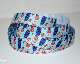 """Multi Colored Feathers 7/8"""" Grosgrain Ribbon 734"""