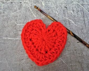 Crochet Red Hearts Medium Set of 6