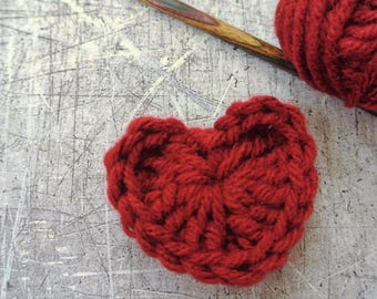 Small Crochet Cranberry Red Hearts Set of 6