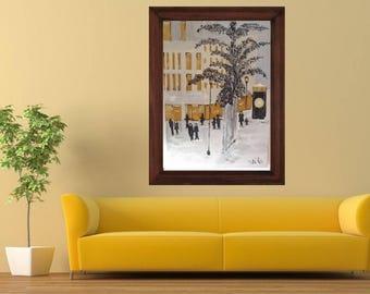 City life, art, artwall, painting, canvas, acrylics, handmade item.
