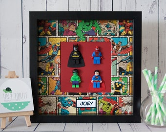 Lego Superhero Frame, Avengers frame, Wooden box frame, Kids bedroom, Personalised frame, Birthday gift, Marvel, DC, Superhero, Custom