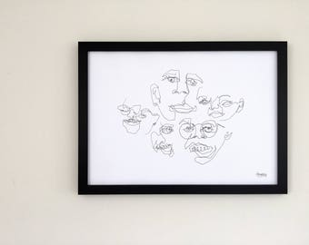 Original - Blind Contour Print - Portrait Composition - Series 3/6 JOY