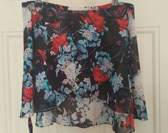 Red and blue flowers skirt