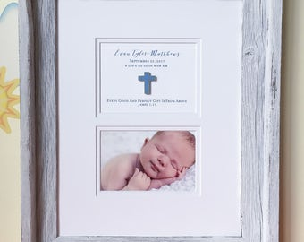 Newborn Frame | Nursery Frames | Personalized Baby Frame | Baby Picture Frame | Baby Picture | Baby Picture in Distressed Wood Frame