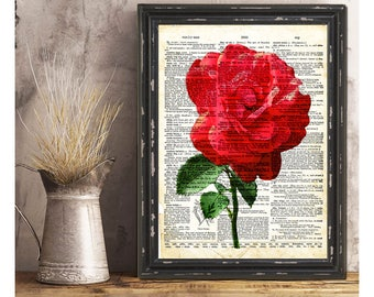 SALE-Red Rose Flower On Vintage Page- Art Print -Wall Art Designs-Gallery Wall-Quote Prints-Collage Art Print-Original Art Print-Vintage Art
