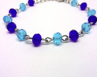 Bracelet beads faceted light blue and Royal Blue