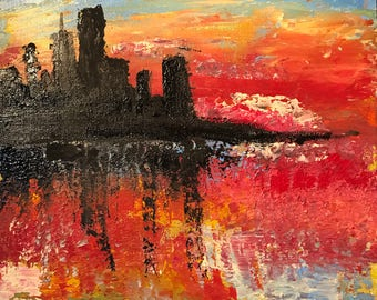 Monet Sunset - Original Acrylic Painting