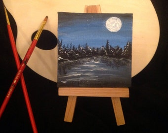 "Acrylic miniature ""Moonlight  on Lake James"""