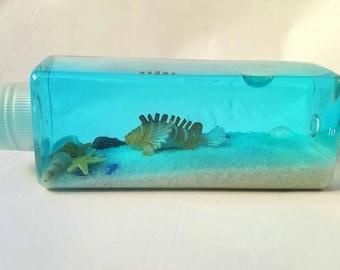 Sensory Bottle Ocean-theme Quiet Bottle, Time-out, Calm Bottle, Play Aquarium, Sensory Processing, Paperweight, Desk Toy, Gift idea