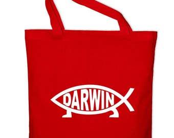 Darwin Fisch evolution science tote bag, canvas bag